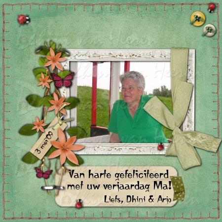 Gefeliciteerd Ma! Liefs, Dhini & Arjo